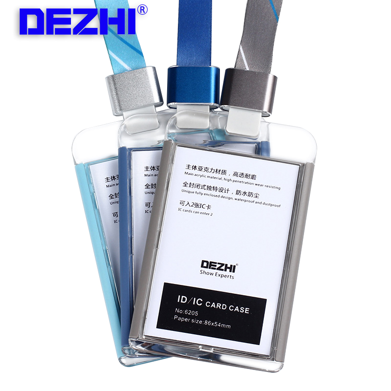 DEZHI-Brand New Business ID IC Card Holders for Office,Colorful Single Badge Holder,Badge Holder with Stripe Lanyard,LOGO Custom