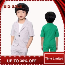 Summer Baby Suits 2-10Years Boys Prom suits Short Sleeve Kids Garment Children Blazers Sets Green/gray