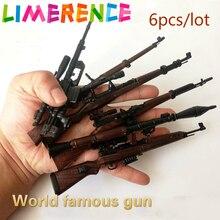 6 teile/los Welt berühmte Gun Spielzeug Weltkrieg II Gewehr Montage 4D Modell Bausteine Rakete 38 98 K Militär waffen Spielzeug