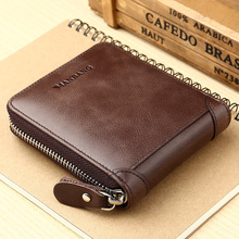 Genuine Hot Selling Man Short Wallet Fashion Vintage Leather Male Coin Purse Card Holder Cowhide Zipper Small Wallets
