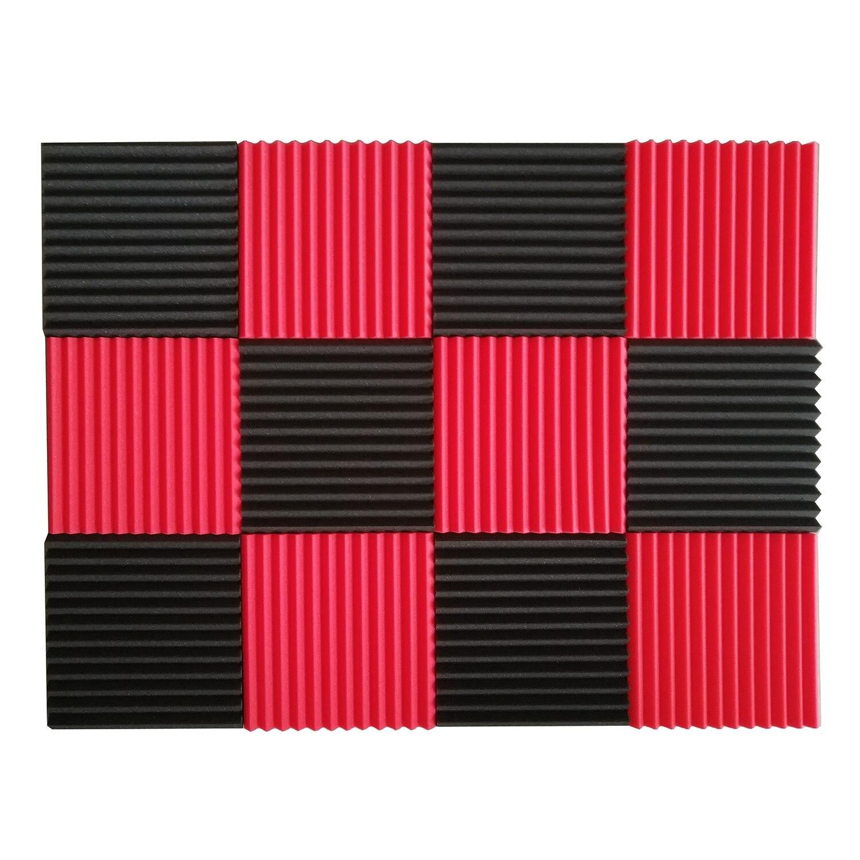 WSFS Hot 12 Pcs Acoustic Panels Soundproofing Foam Acoustic Tiles Studio Foam Sound Wedges 1inch X 12 inch X 12 inch