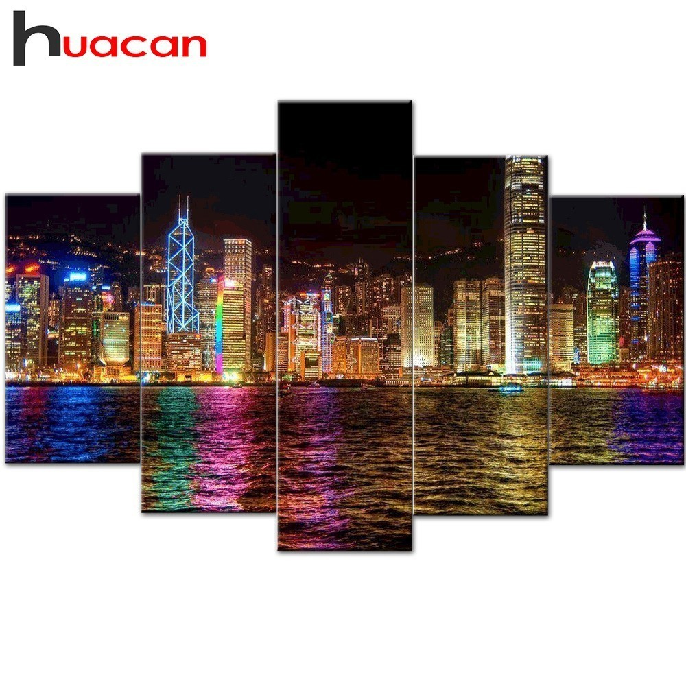 Huacan 5D DIY Diamond Painting Landscape Full Square Diamond Embroidery Seaside Scenery Home Decor Multi picture Combination