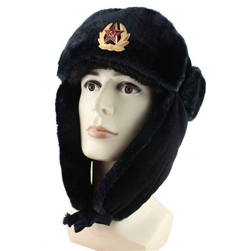 ... Ruso hombre ejército sombrero Ushanka Bomber de cuero soldado soviético  invierno Cordero caliente sombreros gorros de ... a80aecfa2b8