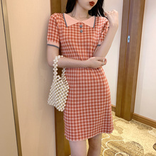 Plaid Straight Short Sleeve Dresses Women Summer Mini Sweet Dress For Girls KK7056
