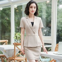 Plus Size Elegant Summer Women Blazers 2 Pieces Set Pleated Tops Mini Skirt Set Ladies Office Work Wear Uniforms Sets