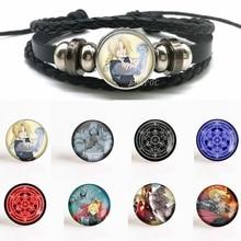 Fashion Fullmetal Alchemist Edward Elric Alphonse Elric Cosplay Anime Black Leather Button Woven Bracelet for Men Women Gift