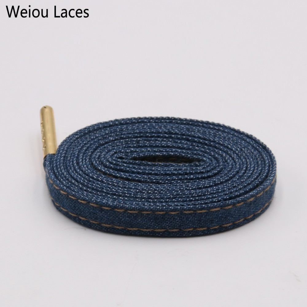 Weiou Premium Flat Denim Shoelaces With Metal Tips Cool Laces To Customize Your Kicks Blue Black Shoestrings For Sports Sneakers