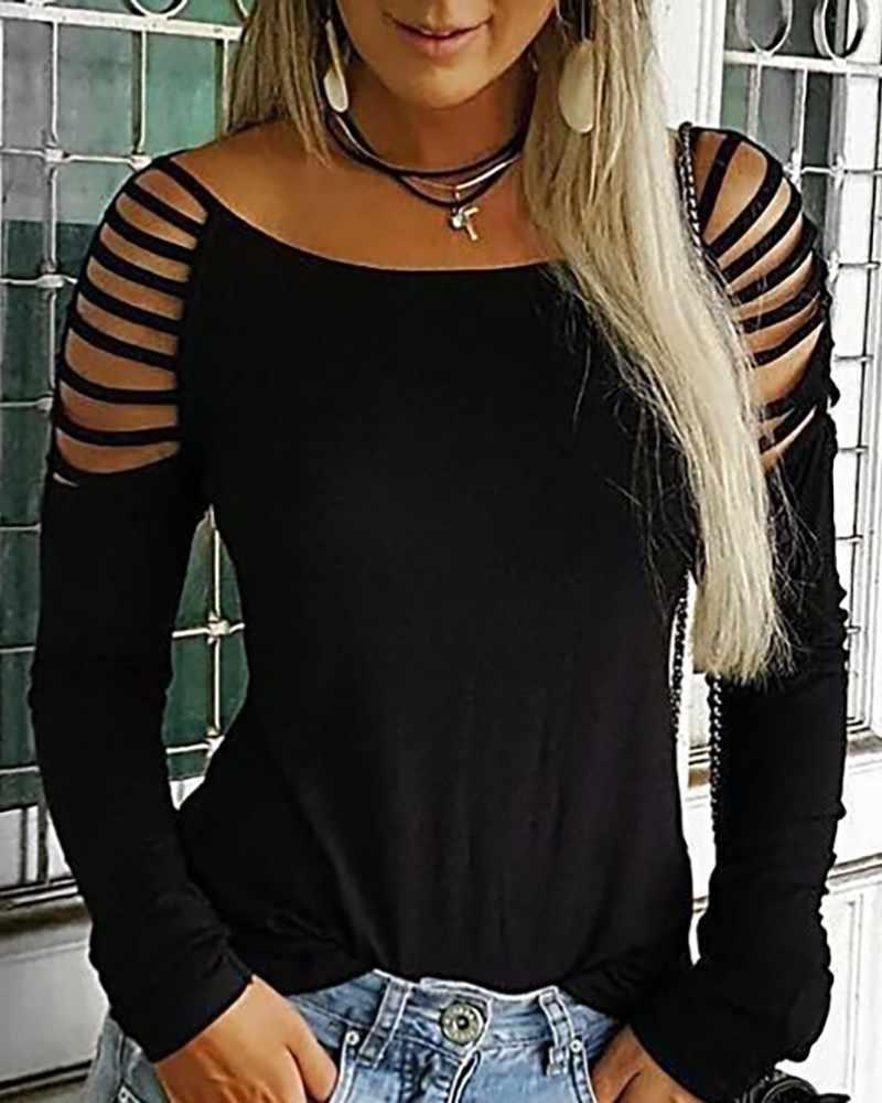 Leopard Print Schwarz T Hemd Leiter Cut Out Langarm T-shirt Frauen Casual O Neck Sommer Tops Frauen Kleidung 2019