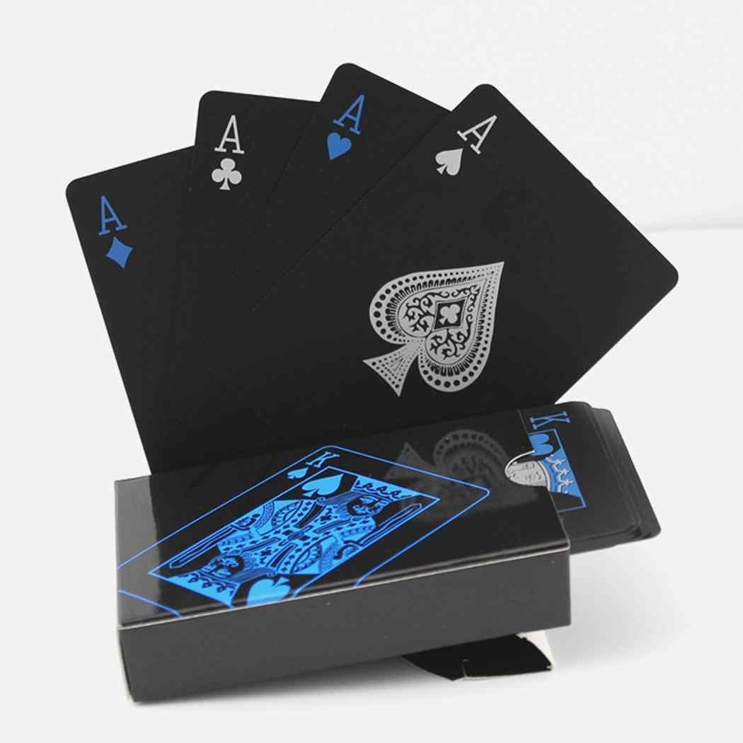 ПВХ водонепроницаемая черная карточка для игры в покер Мода 54 листа игральные карты Повседневные Вечерние. Магический реквизит унисекс