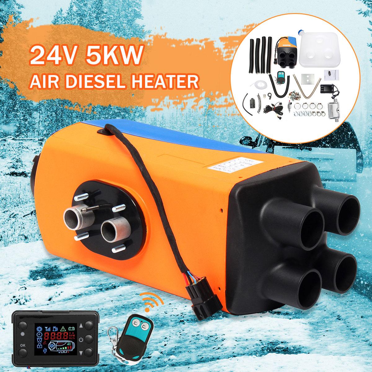 Audew Auto di Parcheggio Aria Diesel Riscaldatore 24 v 5KW 4-Fori 5000 w Riscaldamento Dell'automobile + Interruttore LCD + silenziatore per Camper Barche Auto Accessorie