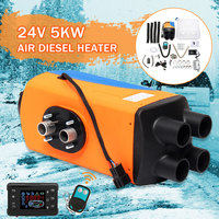 Audew Car Parking Air Diesels Heater 24V 5KW 4 Holes 5000W Car Heater + LCD Switch + Silencer for Motorhome Boats Car Accessorie