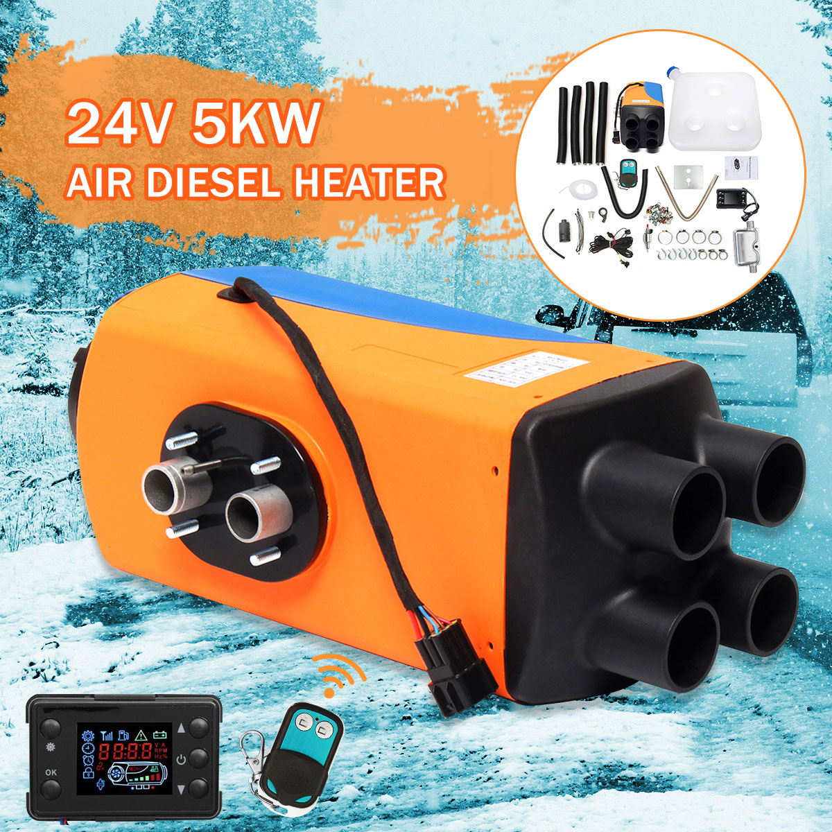 Audew voiture Parking Air Diesels chauffage 24 V 5KW 4 trous 5000 W voiture chauffage + LCD interrupteur + silencieux pour camping-Car bateaux voiture accessoire