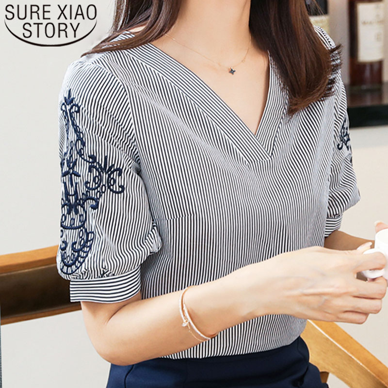Women   blouse   and tops 2019 ladies tops Chiffon   Blouse     Shirts   Striped V Neck Embroidery Short Sleeve Female Clothes 0513 40