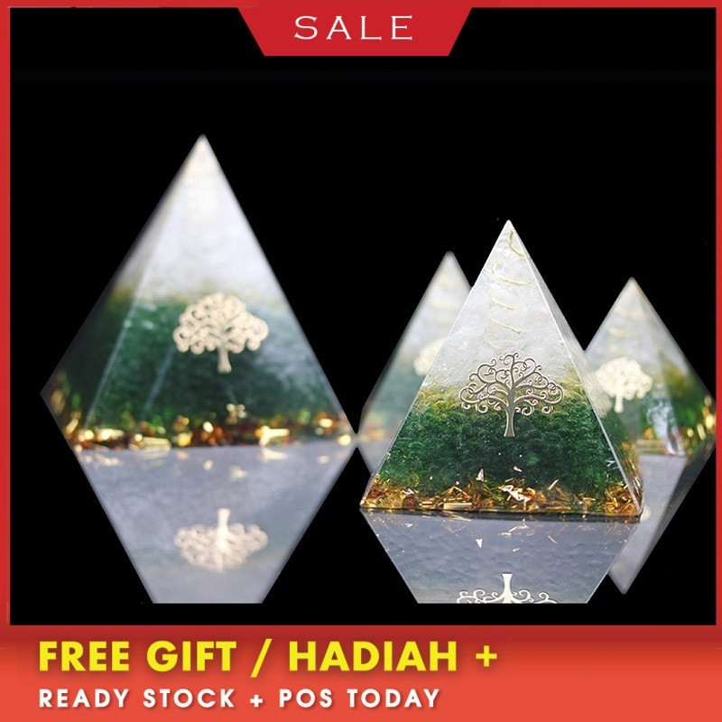 2019 New Orgonite Energy Pyramid Energy Converter Improve Fortune Green Crystal Ornaments Gift Resin Decorative Craft Jewelry