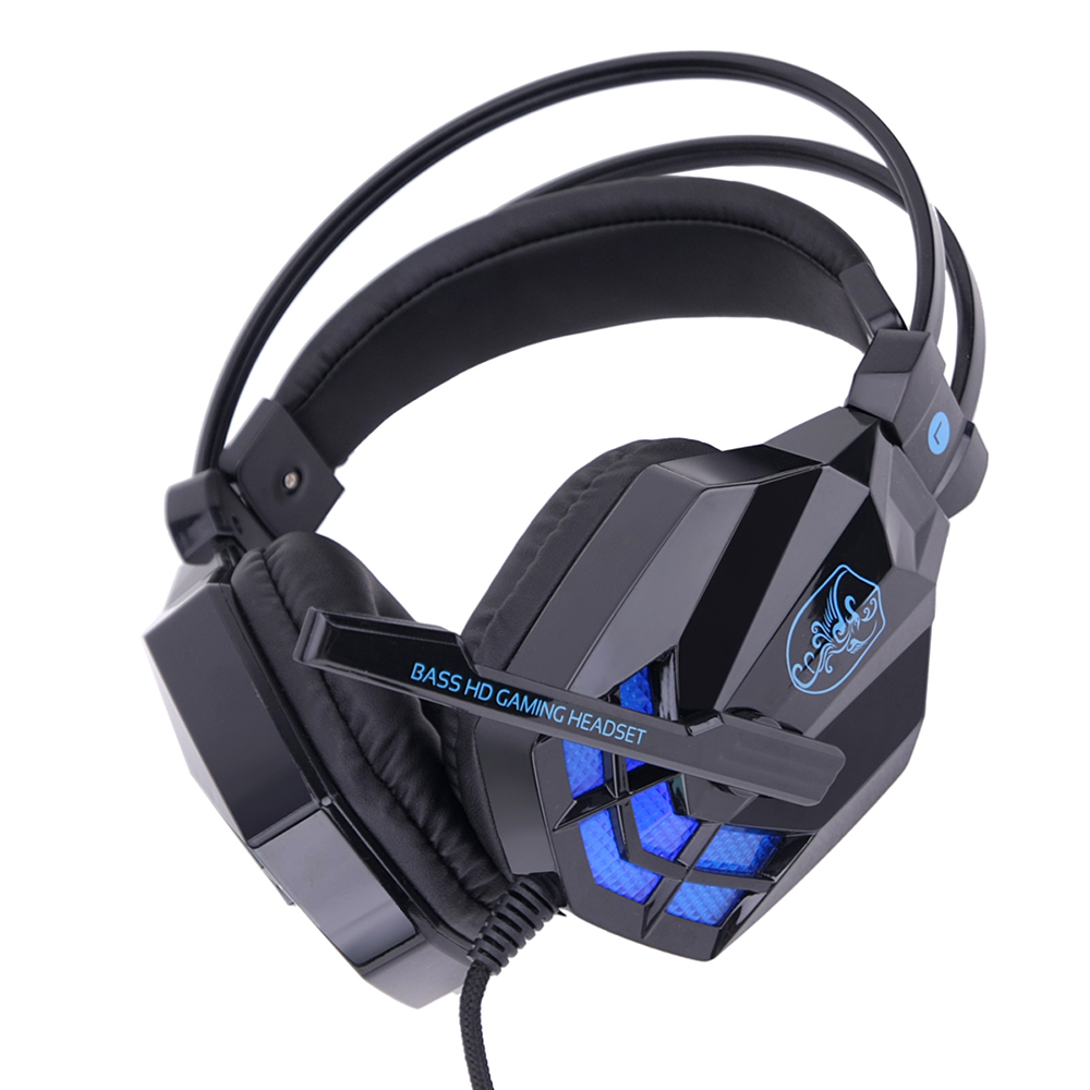 soyto game headset sy850mv stereo with sound card headphones w mic led wired usb interface only. Black Bedroom Furniture Sets. Home Design Ideas