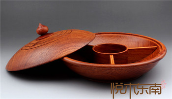 Burma flower, pear tree, dried fruit plate, Vietnamese round box with cover, candy box, solid wood, red wood snack box