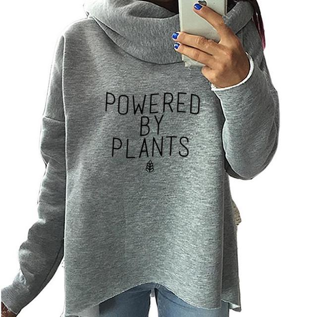 2019 جديد الأزياء مدعوم من النباتات طباعة قمم البلوز نساء هوديس النساء النباتي عارضة طباعة القطن لطيف زائد حجم