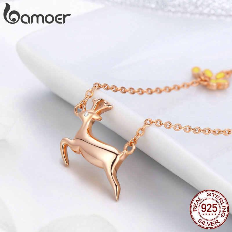 BAMOER 100% 925 Sterling Silver Running Elk Cute Deer wisiorek z różowego złota naszyjniki dla kobiet srebro biżuteria BSN006