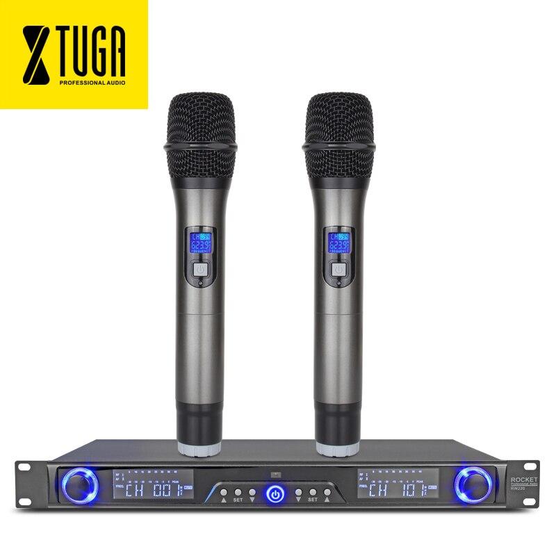 XTUGA RW220 UHF Sans Fil Microphones Système Numérique La Diversité Récepteur Pour La Scène Bar Afficher 2 canal de poche mic