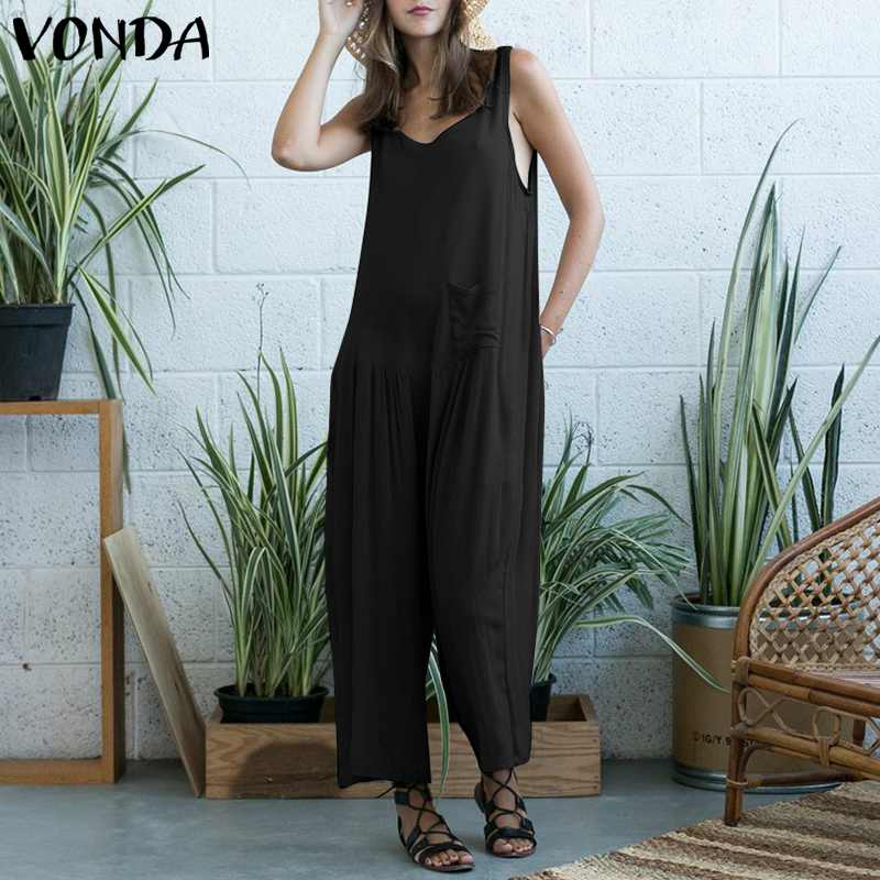 VONDA Rompers Womens   Jumpsuits   2019 Casual Loose Wide Leg Pants Sexy Sleeveless Hollow Long Playsuits Overalls Plus Size