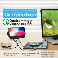 New 3 In 1 Wireless Charger USB Multiport QC 3.0 Fast Charging Station For Samsung Galaxy S10 For IPhone XS Max XR For Xiaomi 9