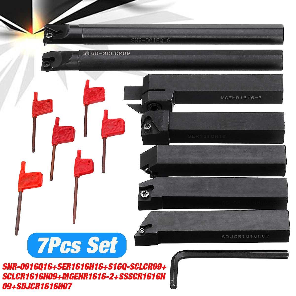 Nuovo 7 pz Set di 16mm Portautensili di Tornitura Boring Bar Utensili CNC Tornio di Taglio Cutter + T15 Chiavi