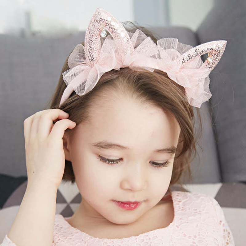 1 個韓国子供の髪カチューシャ女の子ピンクリトルプリンセスかわいい猫耳メッシュ糸ラインストーンパーティーベゼル