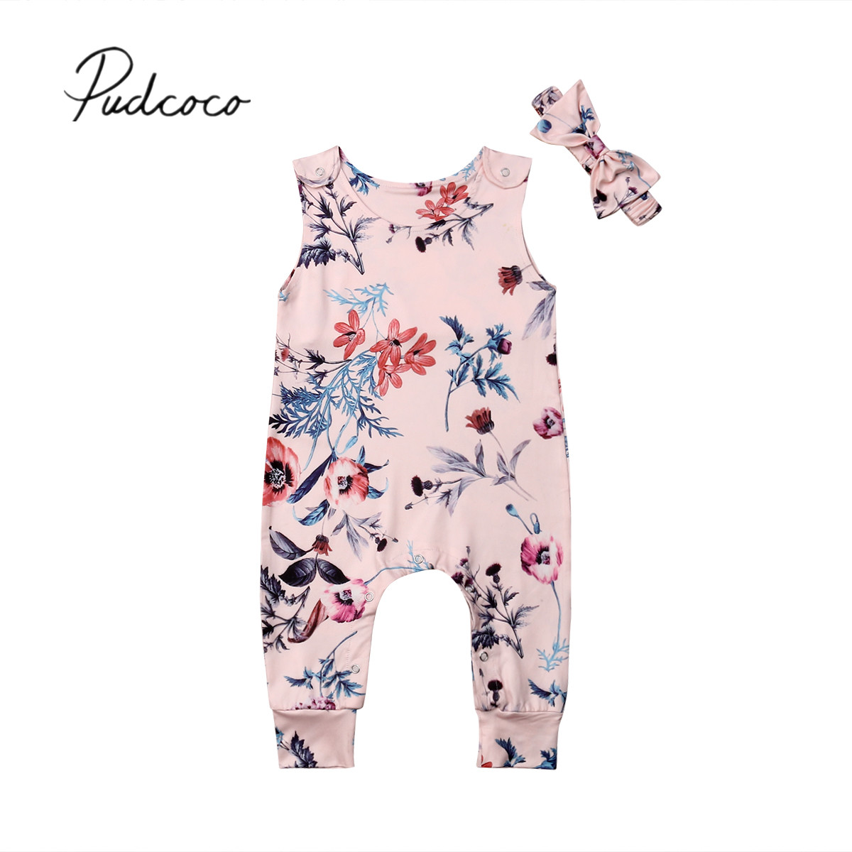 Summer Newborn Toddler Kids Baby Girls Floral Romper Sleeveless Backless Halter Jumpsuit