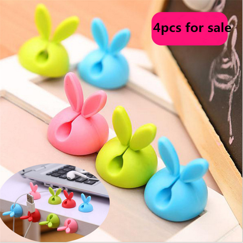 4pcs/set Rabbit Ear Kitchen Wire Fixing Device Kitchen Accessories Table Finishing Storage Holder Kitchen Gadget-S