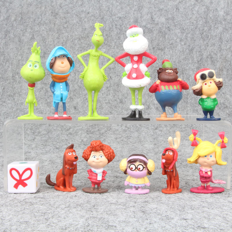 12Pcs/Set Grinch Action Figure Toys How The Grinch Stole Christmas Grinch Max Dog Cartoon PVC Model Doll 4-9cm For Boys Gifts