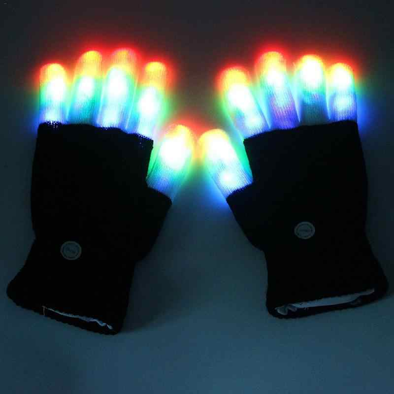 1pc Christmas Black And White Gloves LED Night Glowing Gloves Glitter Gloves Entertainment Promotional Glowing Gloves