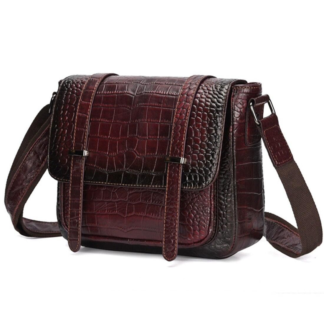 Kobiet prawdziwa skóra bydlęca Messenger torby na ramię wzór krokodyla Retro trendu wypoczynek wysokiej jakości prawdziwej skórzana torebka na ramię torba nowy w Torebki na ramię od Bagaże i torby na  Grupa 2