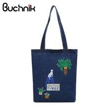 ef7af0b2536bc BUCHNIK haft kowbojski płócienne torebki damska torba na ramię kobiety mody  na co dzień Denim pakiet