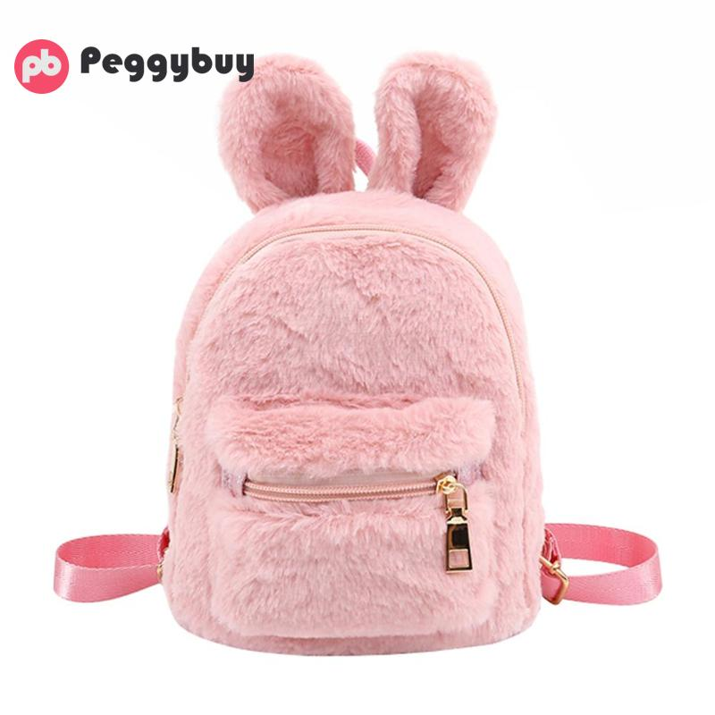 Faux Fur Backpacks Mini Rabbit Ears Shoulder Bags Kids Schoolbags For Teenager Girls Backpack Kids Mochila Feminina Back Pack