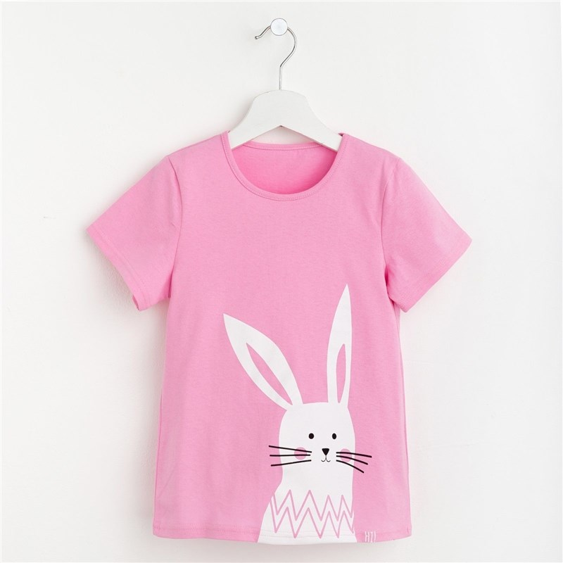 T-shirt for girls Hare P. 34 (122-128 cm), pink stuffed toys dolls girls plush hare peter rabbit model cushion pillow christmas oyuncak stuffed animals doll soft 70a0296
