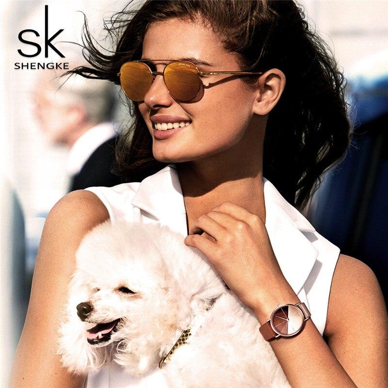 SK Watches Women Luxury Top Brand Shengke Leather Quartz Watches Reloj Mujer Ladies Wrist Watch Female Clock Relgio feminino in Women 39 s Watches from Watches
