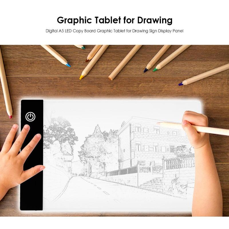 Digital <font><b>A5</b></font> Copy <font><b>Pad</b></font> Graphic Tablet Drawing Sign Display Panel Stencil Artist Thin Art Painting Board <font><b>LED</b></font> <font><b>Light</b></font> Box Tracing <font><b>Pad</b></font> image