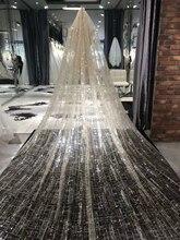طرحة زفاف الشمبانيا الفاخرة فريدة من نوعها حجاب الزفاف الطويل مع مشط الفأس