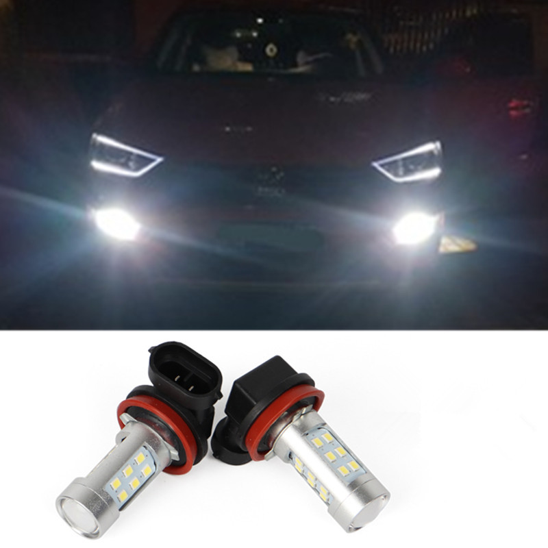 2x H8 H11 White <font><b>LED</b></font> 21SMD Car Fog <font><b>Lights</b></font> Drl Lamp For <font><b>Mazda</b></font> 3 5 <font><b>6</b></font> XC-5 MX-5 2009 Axela Atenza CX-7 CX 7 CX7 2010 2011 CX-5 2012 image