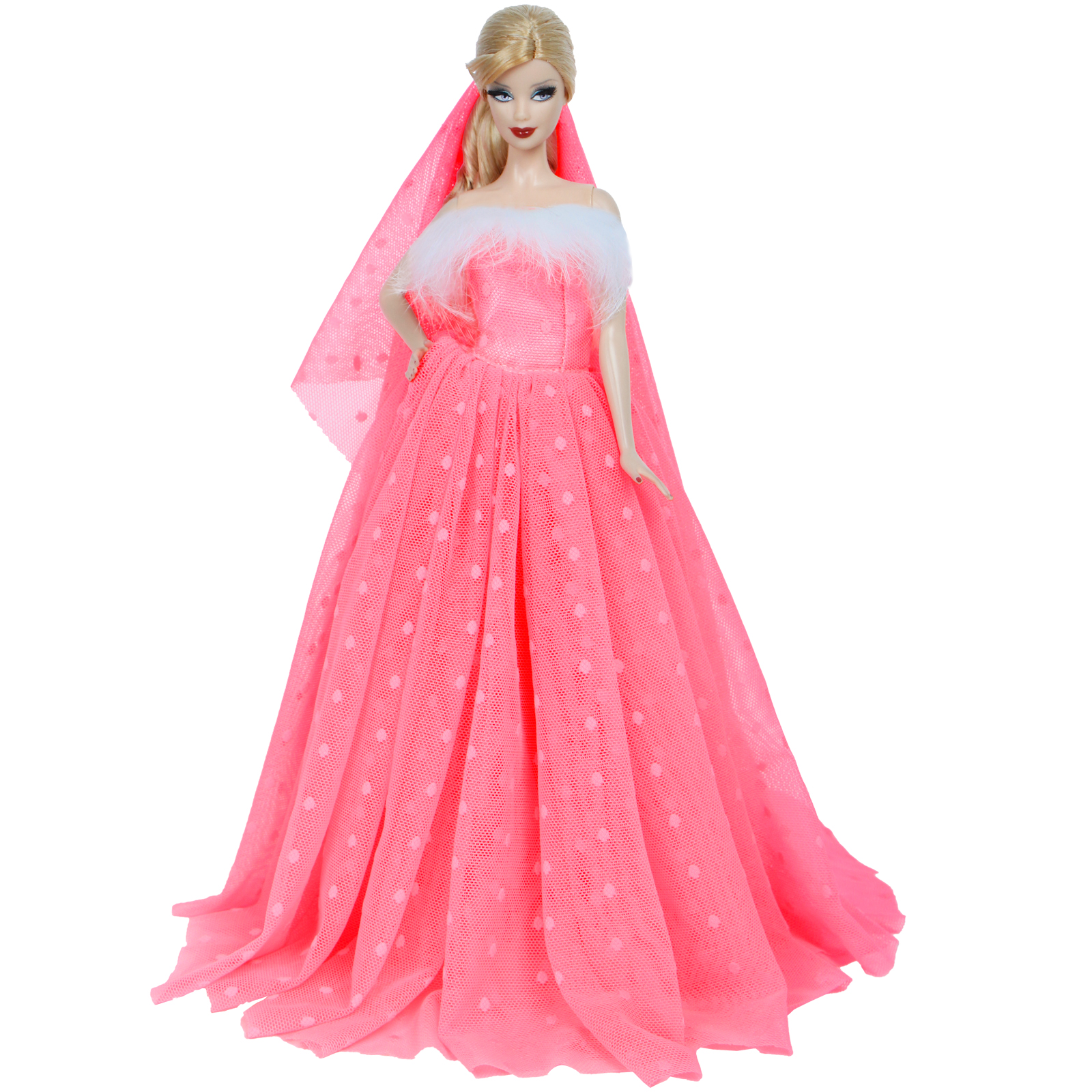 Fashion Royalty Pink Flower Party Dress Ball Gown For 11.5 inch Doll