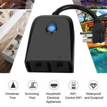 Wifi Smart Voice Plug Wireless Remote Control Switch Outlet with 2 Individual Sockets US Plug 100-240V