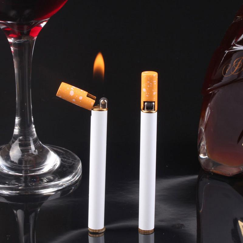 Mini Fine Cigarette Lighter Personality Novelty Creative Grinding Wheel Open Flame Lighter Without Gas Liquid