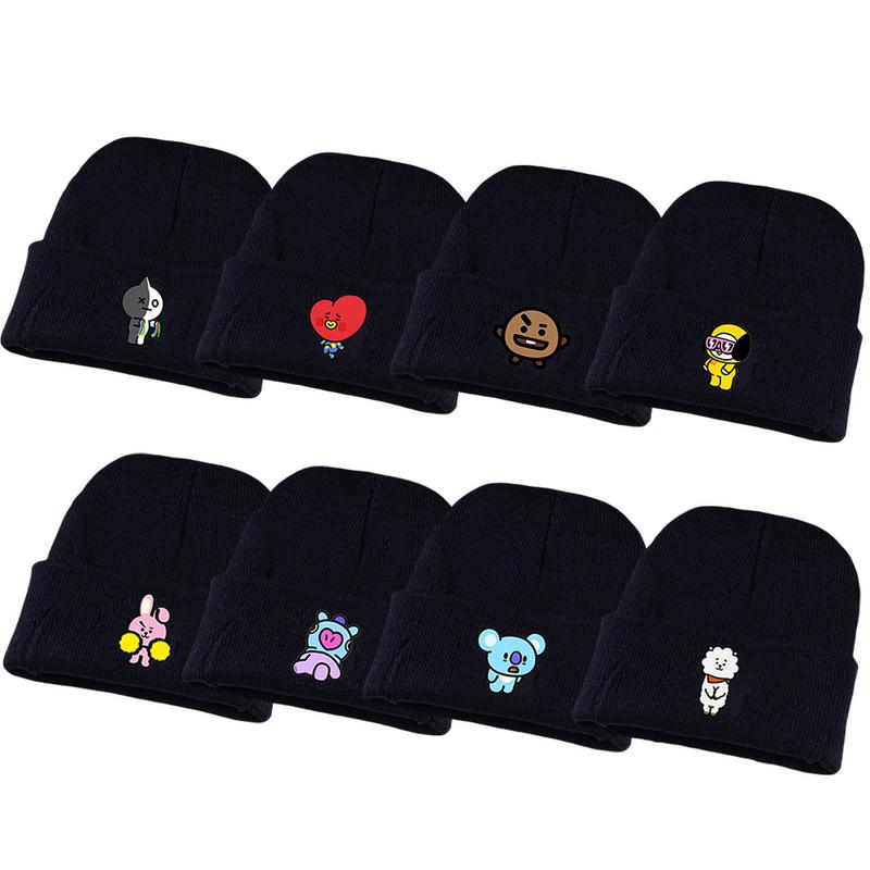 56b7cb736fa42 BTS Adult Unisex Hat Celebrity Autumn And Winter Knitting Keep Warm Black  Cartoon Pattern Lovely Cotton