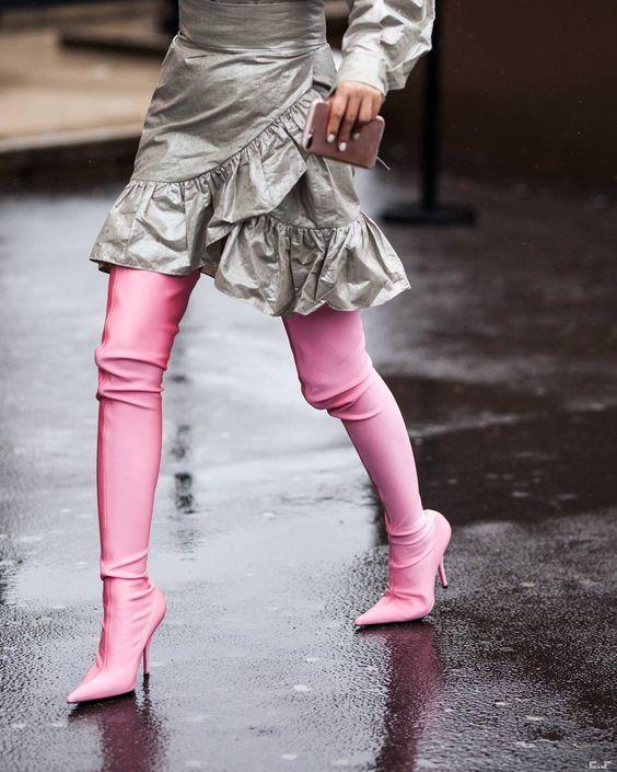 Chaussette Talons Stretch Bout As Femmes as Tissu Show Bottes Mode Printemps Piste Hauts Show Haute 2018 Couteau Pointu Pompes Cuisse Défilé 5t0qBxwvn1