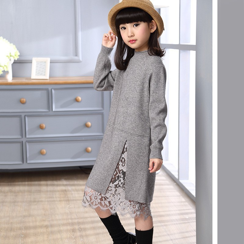 Lace Patchwork Teenage Girl Sweater Dress Clothes Knitting Little Children Knitted Dresses For Winter Autumn Red Grey Black Pink цены