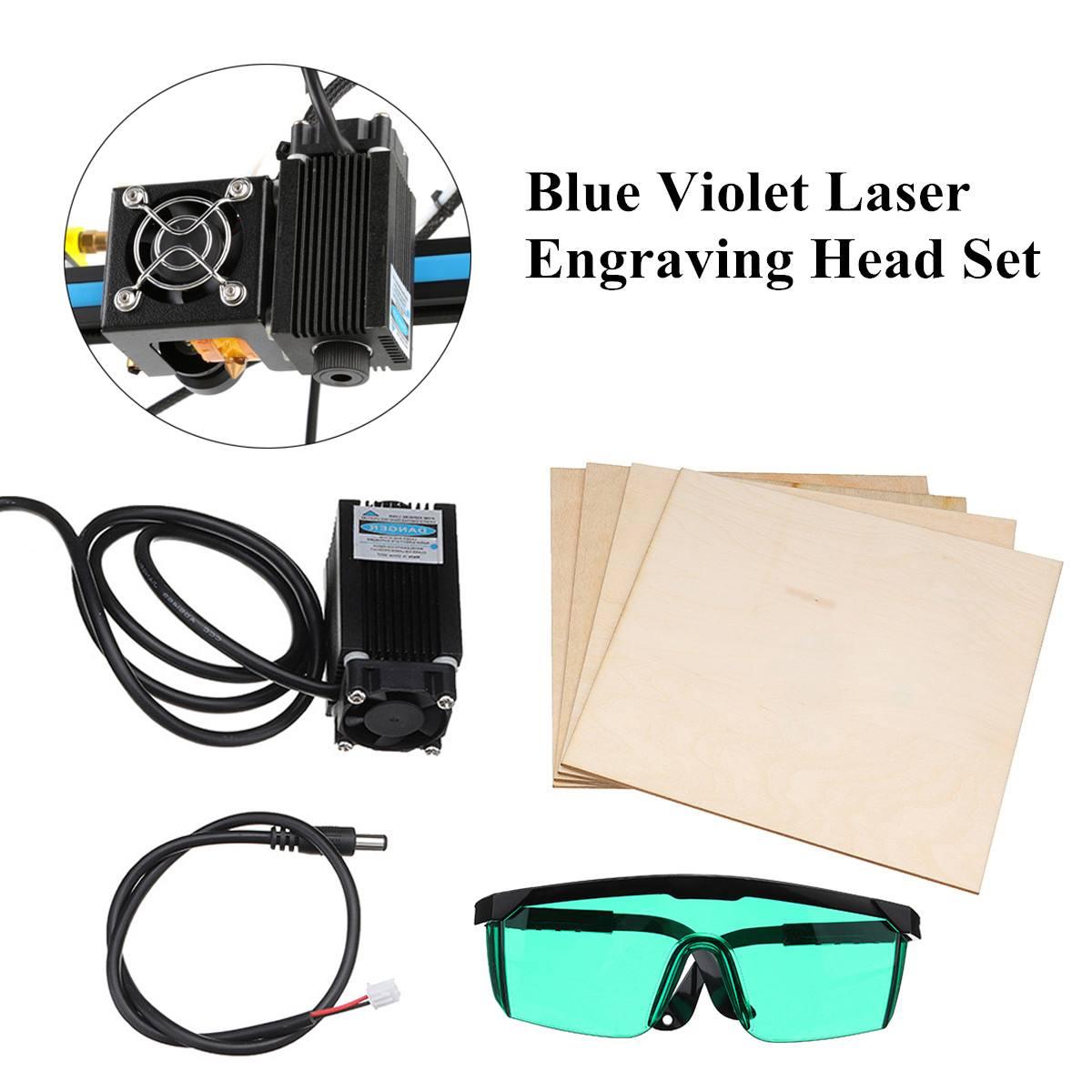 12V Blue Violet Laser Engraving Head Set With Glasses Wood Plates Module Blue Violet For Creality CR-10 CR-10S 3D Printer12V Blue Violet Laser Engraving Head Set With Glasses Wood Plates Module Blue Violet For Creality CR-10 CR-10S 3D Printer