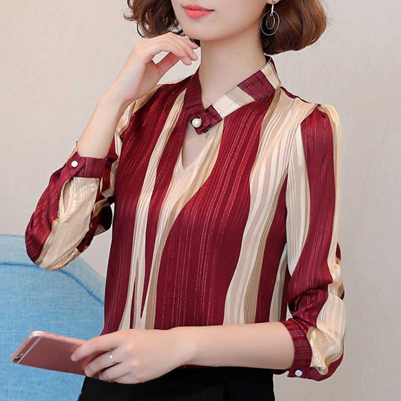 プラスサイズの女性ブラウスファッション女性ブラウス 2018 オフィスストライプシャツシフォンブラウスシャツ長袖女性シャツ Z06 60
