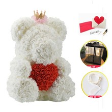Valentine's Romantice Artificial Rose Bear with LED Box PE Rose Gift for Wedding Party Creative DIY Valentine Gift PE Rose Doll