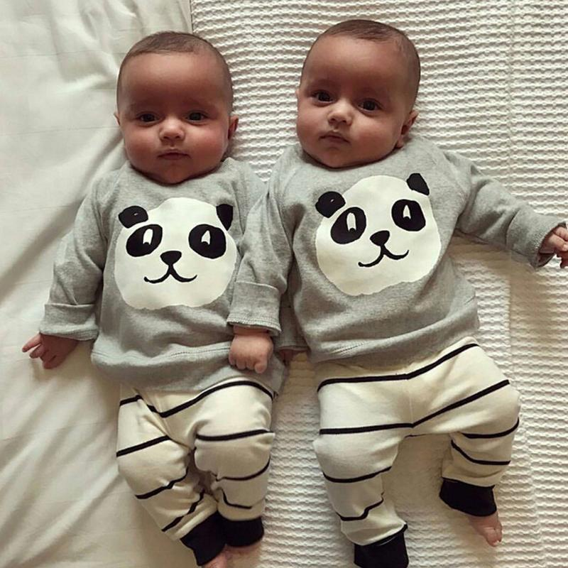 2PCSSET Baby Clothes Panda Pattern Suit Top And Trousers for children Boy Girls