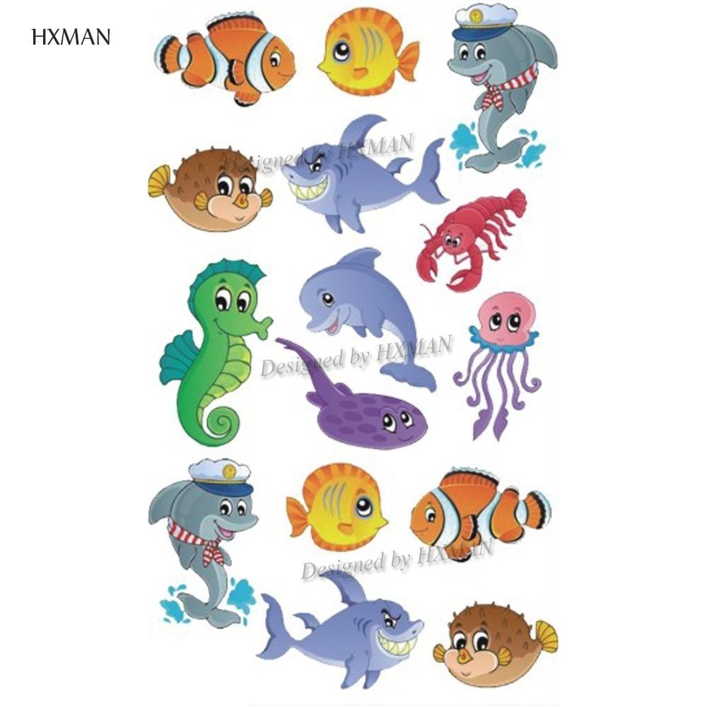 HXMAN Cartoon Animals Temporary Tattoo Sticker Waterproof Women Fashion Fake Body Art 9.8X6cm Kids Hand Tattoos Hot Design A-380